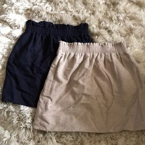 J. Crew skirts! Used size 0 / 00 gold and navy
